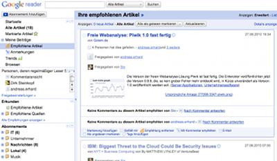 eine persönliche Zusammenstellung von Nachrichten im Google Reader
